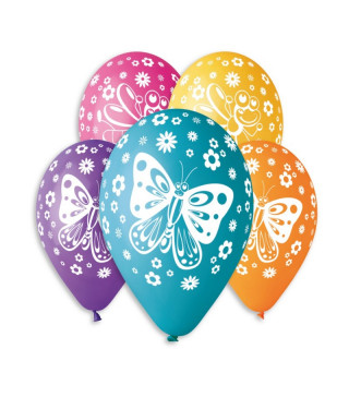 "Кульки пастель 12"" метелик асотрі 100шт/уп GS110/355/174 11924 Gemar"