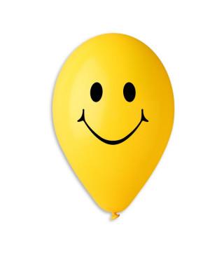 """Кульки поштучно з малюн. """"12"""" Смайлик жовті Ш-11861 Gemar"""