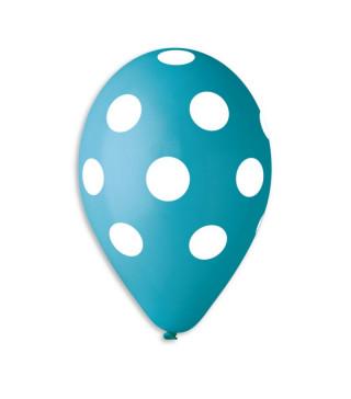 """Кульки пастель 12"""" блакитні в білий горох 100шт./уп GS110/157 латекс 90240"""