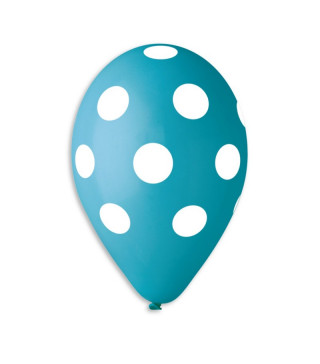 """Шарики 12""""(30см) голубые в белый горох 100шт/уп"""