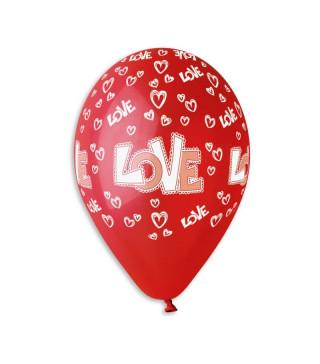 """Кульки поштучно з малюн. паст. """"12""""червоні в сердечкаLOVE Ш-11930 Gemar"""