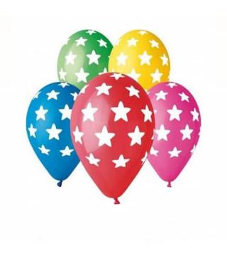 """Кульки поштучно з малюн. паст. """"12""""асорті в білі зірки Ш-11937 Gemar"""