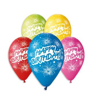 "Кульки пастель 12"" Happy Birthday асорті Феєрверк100шт/уп GS110/041 латекс 91941 Gemar"