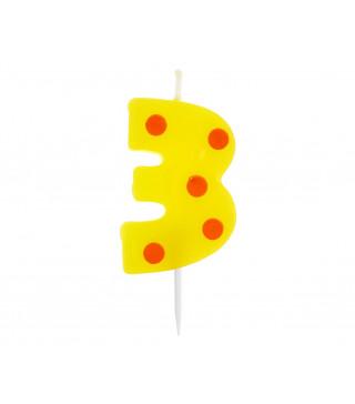 Свічка цифра 3 горох
