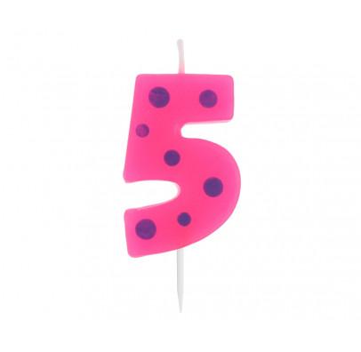 Свічка цифра 5 горох