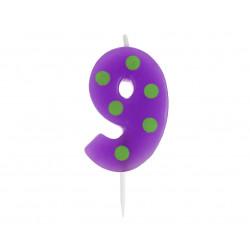 Свічка цифра 9 горох