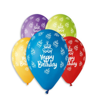 "Кульки пастель 12"" Happy Birthday тортик100шт/уп GS110/495 латекс 11938 Gemar"