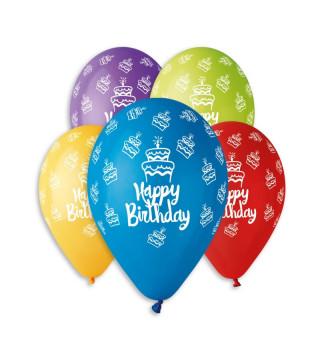 Кульки поштучно з малюн. Happy Birthday тортики латекс Ш-11938 Gemar