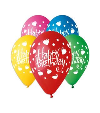 Кульки поштучно з малюн. Happy Birthday сердечка латекс Ш-11923 Gemar