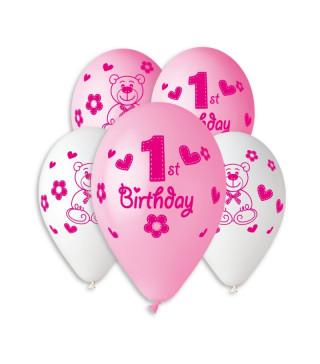 Шарики Happy 1st Birthday girl 100шт уп
