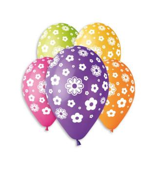 """Кульки пастель 12"""" асорті в білі квіточки100шт/уп GS110/107 11933 Gemar"""