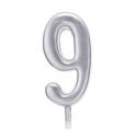 Свічка цифра 9 срібло парафін 04689 Китай