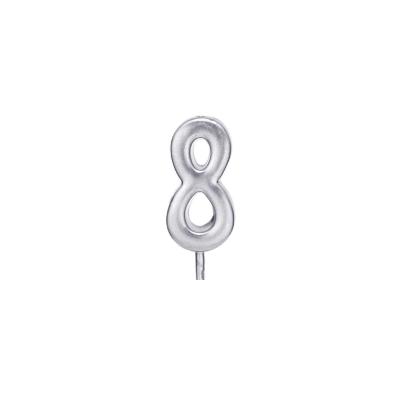 Свічка цифра 8 срібло парафін 04688 Китай