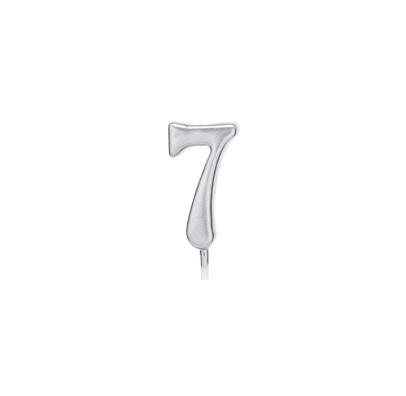 Свічка цифра 7 срібло парафін 04687 Китай
