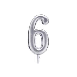 Свічка цифра 6 срібло парафін 04686 Китай