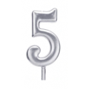 Свічка цифра 5 срібло парафін 04685 Китай