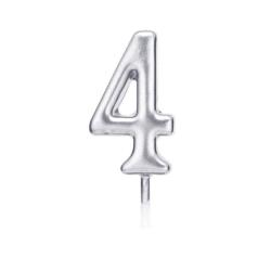Свічка цифра 4 срібло парафін 04684 Китай