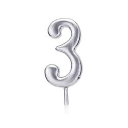 Свічка цифра 3 срібло парафін 04683 Китай