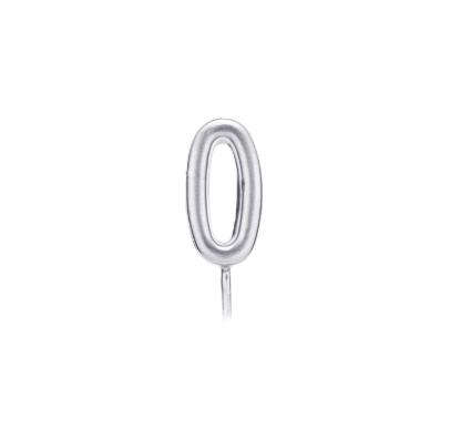 Свічка цифра 0 срібло парафін 04680 Китай
