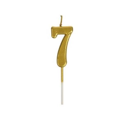 Свічка цифра 7 золото парафін 04662