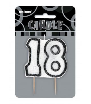 "Свічка цифра ""18"" з блискітками парафін 3442 Unigue"