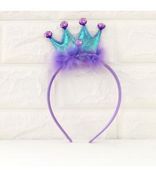 Обруч Корона с пушком фиолетовая