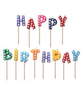 Свічка в торт з фігурками Happy birthday кольорові в горох. парафін 50319 Китай