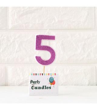 """Свічка цифра """"5"""" Рож.. з блисківками Party парафін 003145 Китай"""