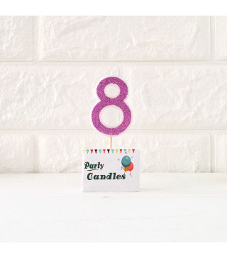 """Свічка цифра """"8"""" Рож. з блисківками Party парафін 003148 Китай"""
