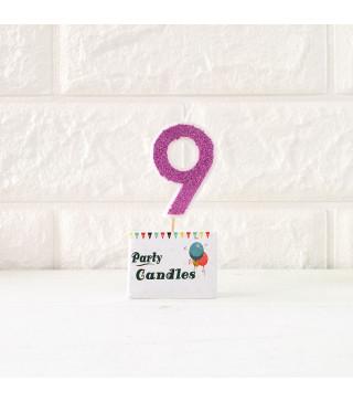"""Свічка цифра """"9"""" Рож.з блисківками Party парафін 003149 Китай"""