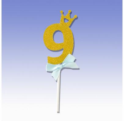"""Декорація на стіл Топер паперовий """"9"""" золото гол бантик папір T-629 Китай"""