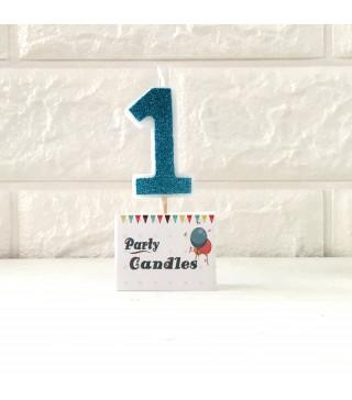 """Свічка цифра """"1"""" Гол з блисківуами Party парафін 003131 Китай"""