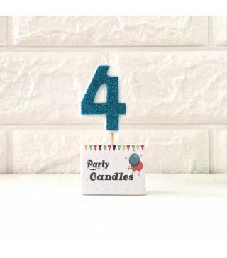 """Свічка цифра """"4""""Гол.з блисківкамиParty парафін 003134 Китай"""