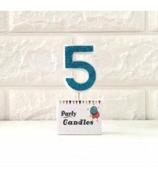 """Свічка цифра """"5"""" Гол. з блисківками Party парафін 003135 Китай"""