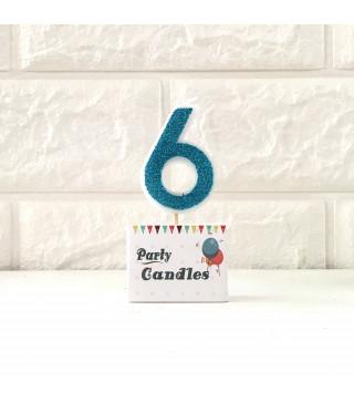 """Свічка цифра """"6"""" Гол. з блисківками Party парафін 003136 Китай"""