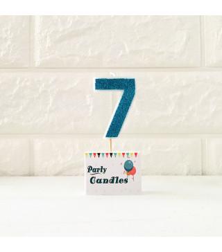"""Свічка цифра """"7"""" Гол. з блисківками Party парафін 003137 Китай"""