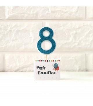 """Свічка цифра """"8"""" Гол.з блисківками Party парафін 003138 Китай"""