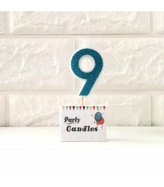 """Свічка цифра """"9"""" Гол.з блисківками Party парафін 003139 Китай"""
