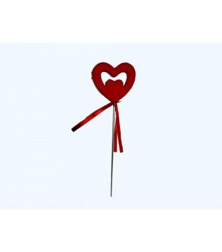 Валентинка на палочці Серце велюр