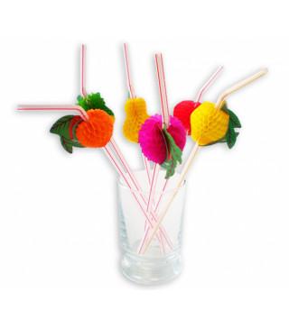"""Трубочки для коктелю для коктелю """"Фрукти"""" 10шт./уп. пластмаса, папір 22605 Китай"""