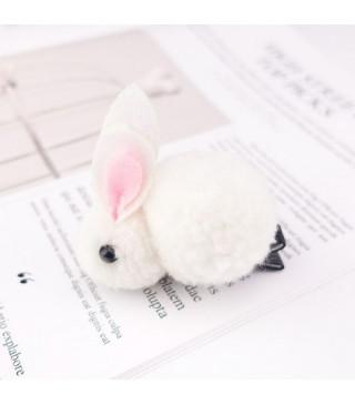 Заколка зайчик білий. 1шт. пластик, тканина Z-089 Китай