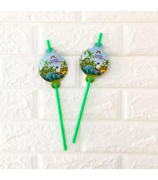 Трубочки для коктелю Динозаври 6 шт/уп. пластик папір F-9035648