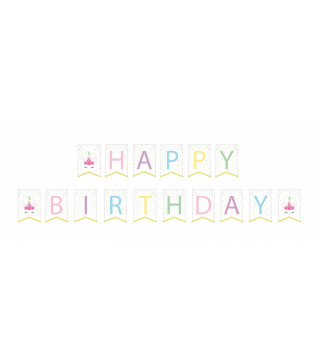 "Декорація Гірлянда флажки Happy Birthday ""'Єдиноріг"" папір. поліестер F-90435"