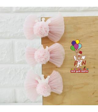 Заколка для принцес Бантік з коронкою рож. фетр Z-0059 Китай
