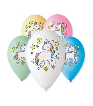 """Кульки поштучно з малюн. паст """"12""""Єдиноріг кольор. Ш-92321 Gemar"""