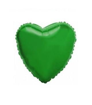 Шарик фольгированный Сердце зеленое мини 23см