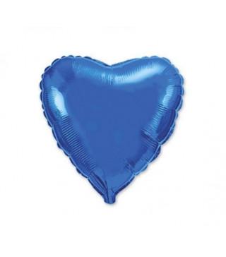 Шарик фольгированный Сердце синее мини 23см
