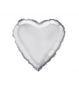 Шарик фольгированный Сердце серебрянное мини 23см