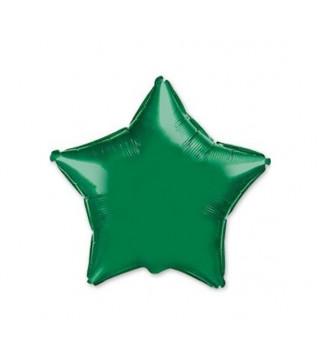 Шарик фольгированный Звезда зеленая мини 23см