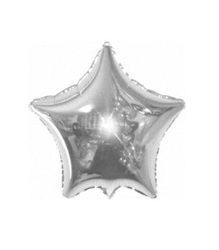 Шарик фольгированный Звезда серебрянная мини 23см